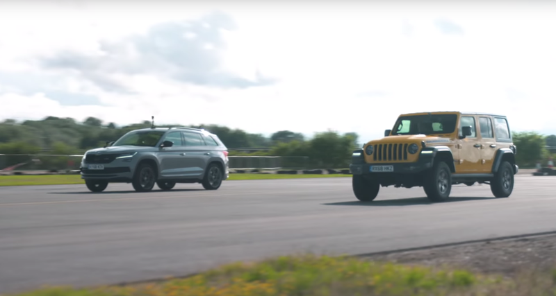 Jeep Wrangler Rubicon против Skoda Kodiaq vRS: дрэг-гонка