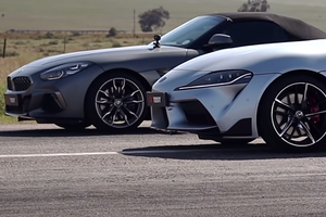 Toyota Supra против BMW Z4 и Ford Mustang GT: дрэг-гонка